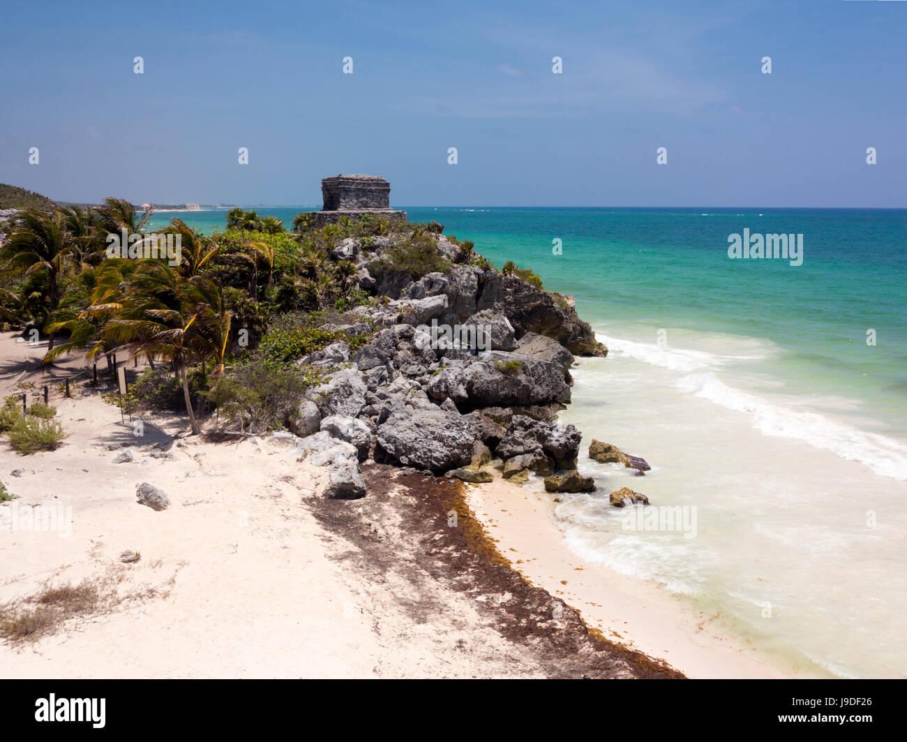 Mayan Templo del Dios del Viento (Templo del Dios del Viento), la Zona Arqueológica de Tulum, Quntana Roo, Imagen De Stock