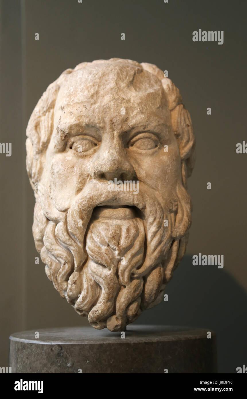 Sócrates (469-399 a.C.). Filósofo griego clásico. Copia romana del original griego, 380-360 AC. Museo Británico. Londres. Reino Unido. Foto de stock