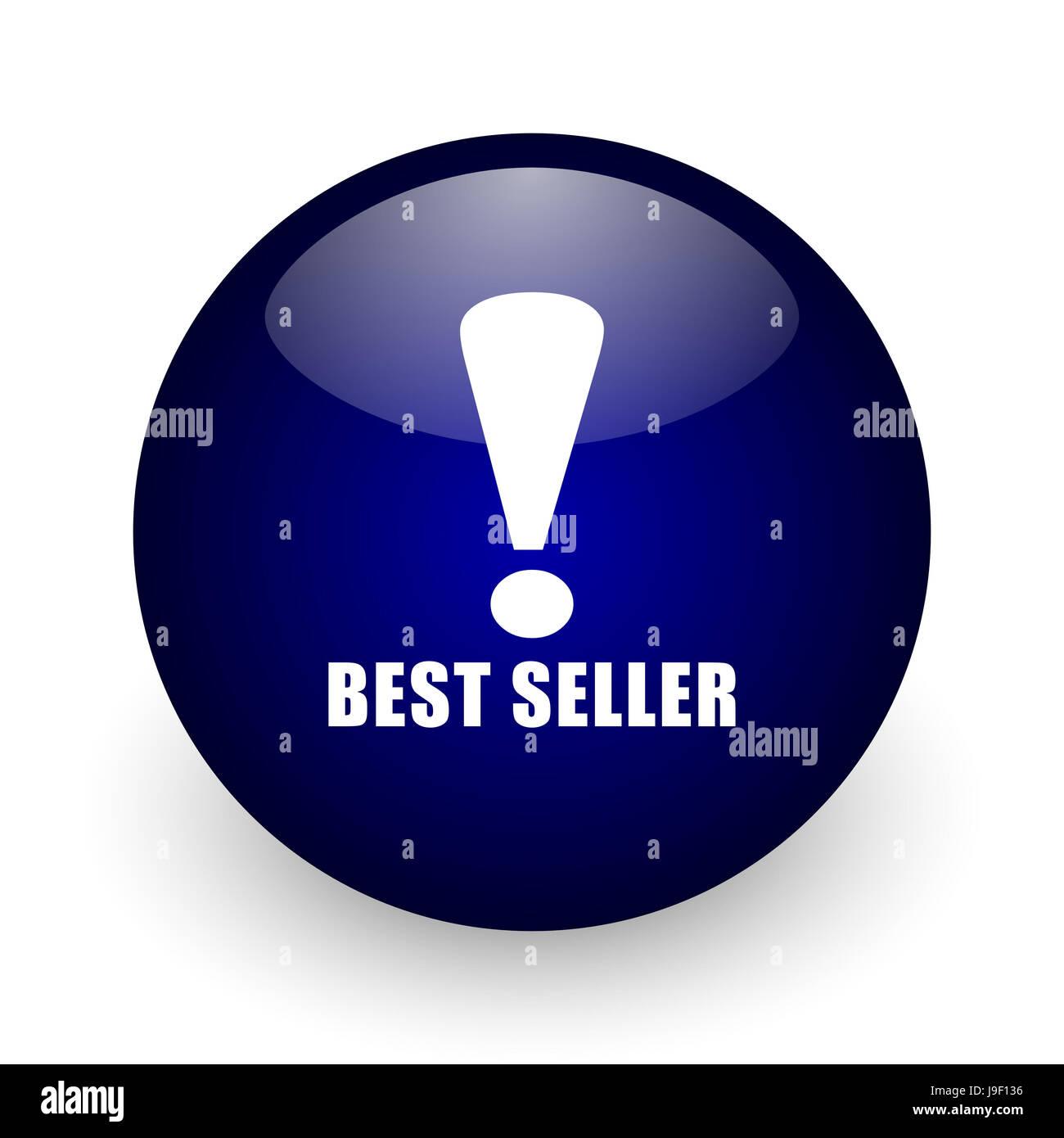 Best Seller de bola brillante azul icono web sobre fondo blanco. 3D Render botón redondo. Foto de stock