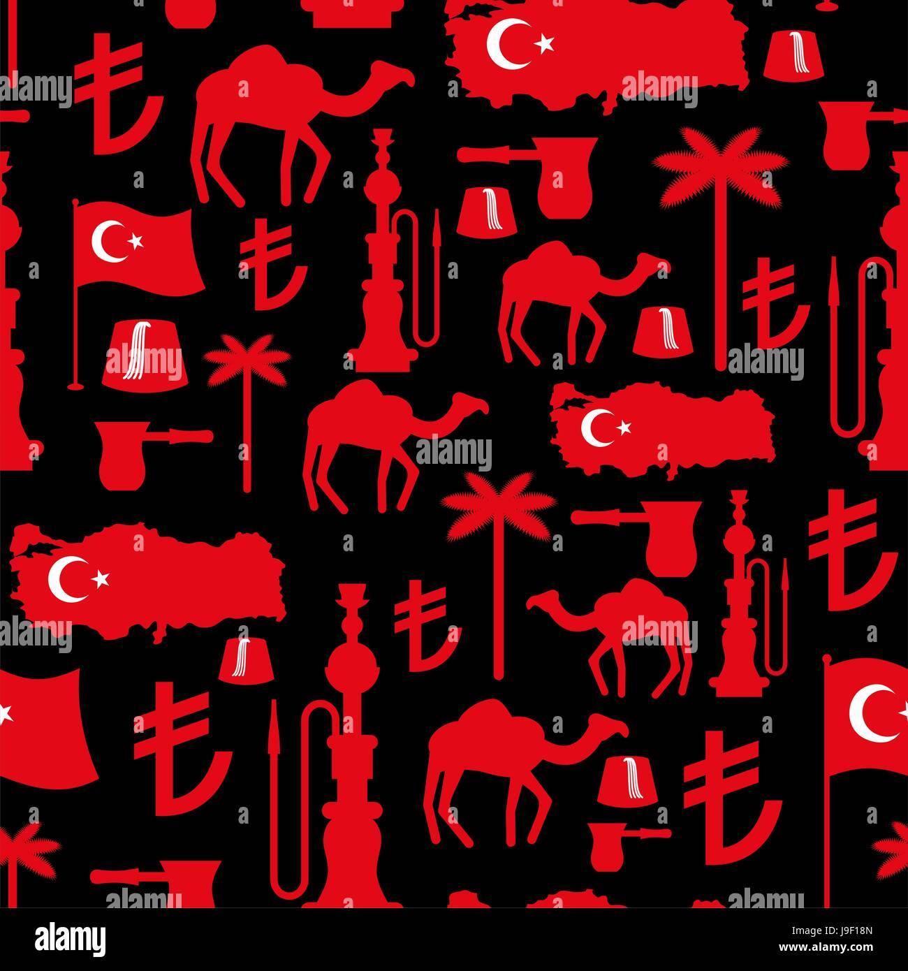 Símbolos de pavo patrón sin fisuras. Ornamento nacional turca. Antecedentes  tradicionales del Estado. 476f236e028