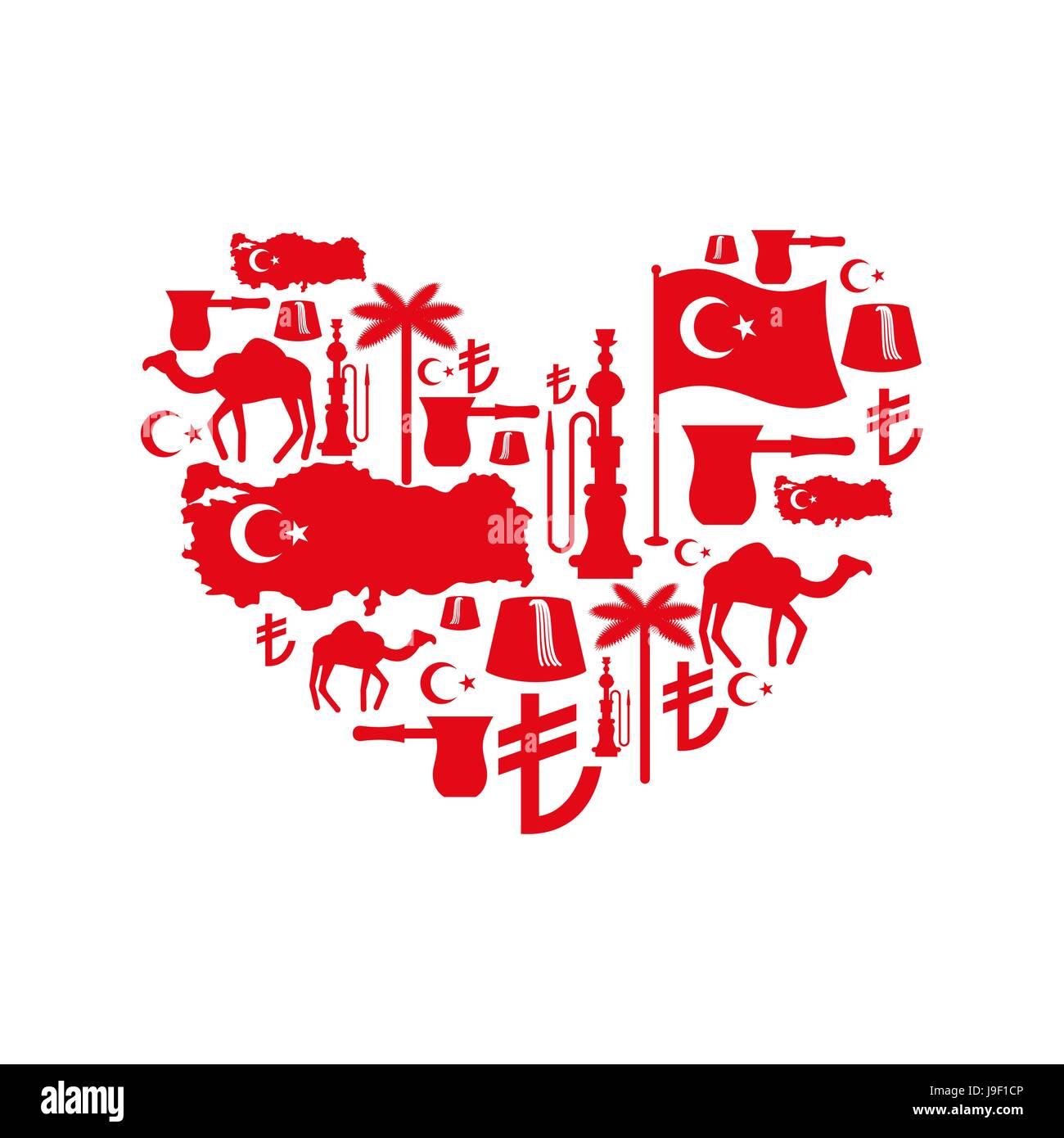 Signo de corazón folk tradicional turco caracteres. Mapa y bandera de c439d0f7cee
