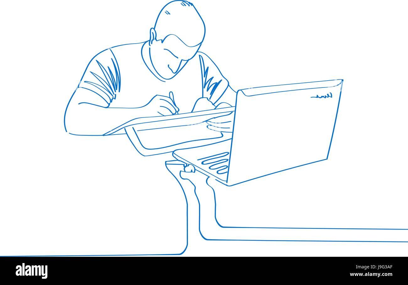 Dibujado A Mano Joven Hombre Dibujar En Portátil El Trabajo De