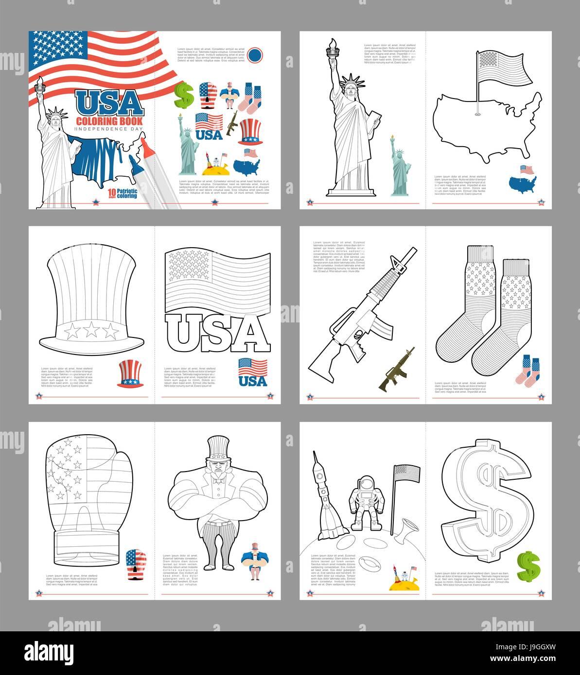 Libro para colorear de EE.UU. Libro patriótico para colorear ...
