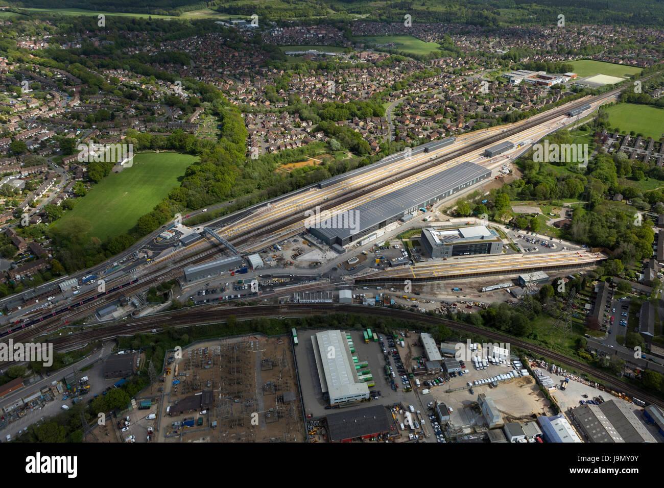 Siemens, tres puentes planta Traincare, Crawley, West Sussex es más de 1,4 millas de longitud y fue construido Imagen De Stock