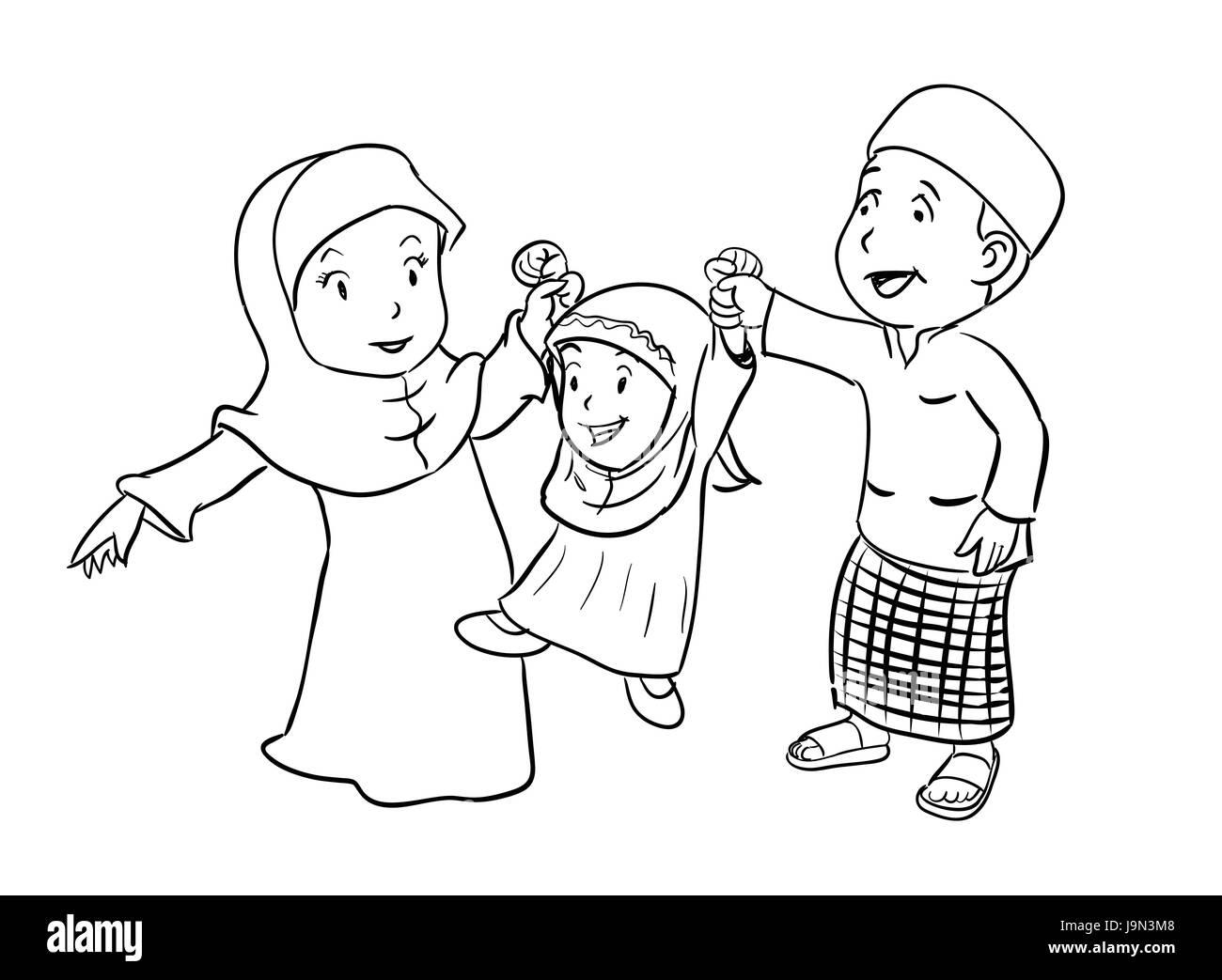 Ilustración Lineal De Feliz Familia Islámica Vector De Dibujos