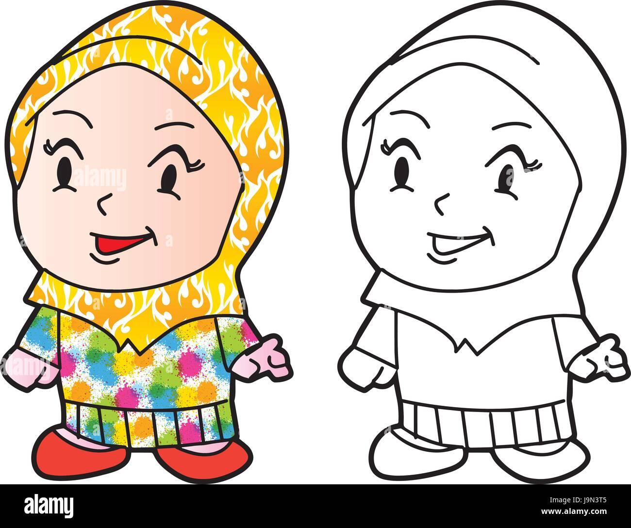 Vector Illustration Little Girl Playing Imágenes De Stock & Vector ...