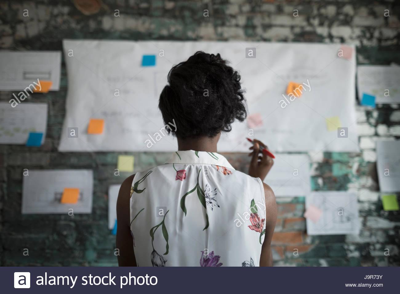 La empresaria creativa brainstorming, revisar el diagrama de flujo colgando en la pared de ladrillo en Office Imagen De Stock