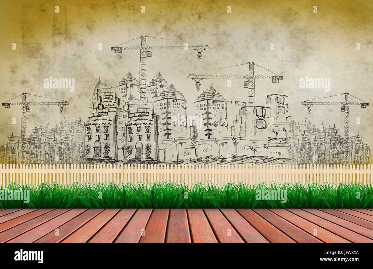 Terraza De Madera Y La Construcción Del Edificio Para El