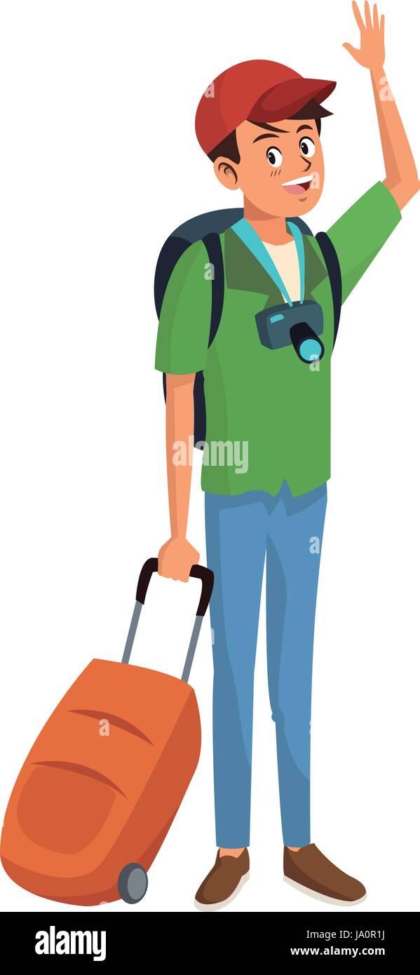 Feliz joven permanente viajero con mochila y maleta de viaje