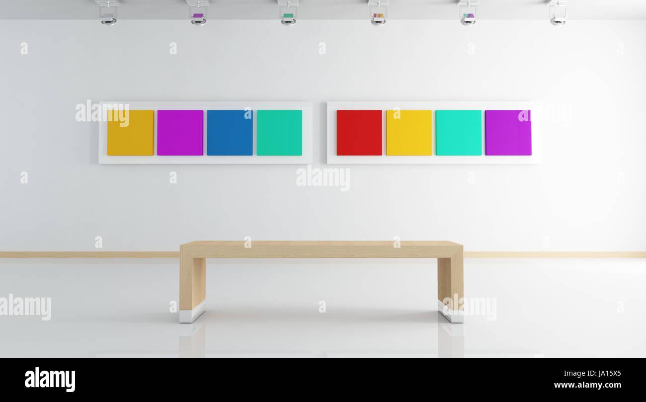 Arte, pared, museo, galería, Bastidor, asiento, banqueta, colorido ...