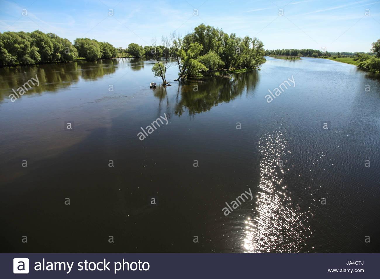 Río warta en kostrzyn nad odra, Polonia Imagen De Stock