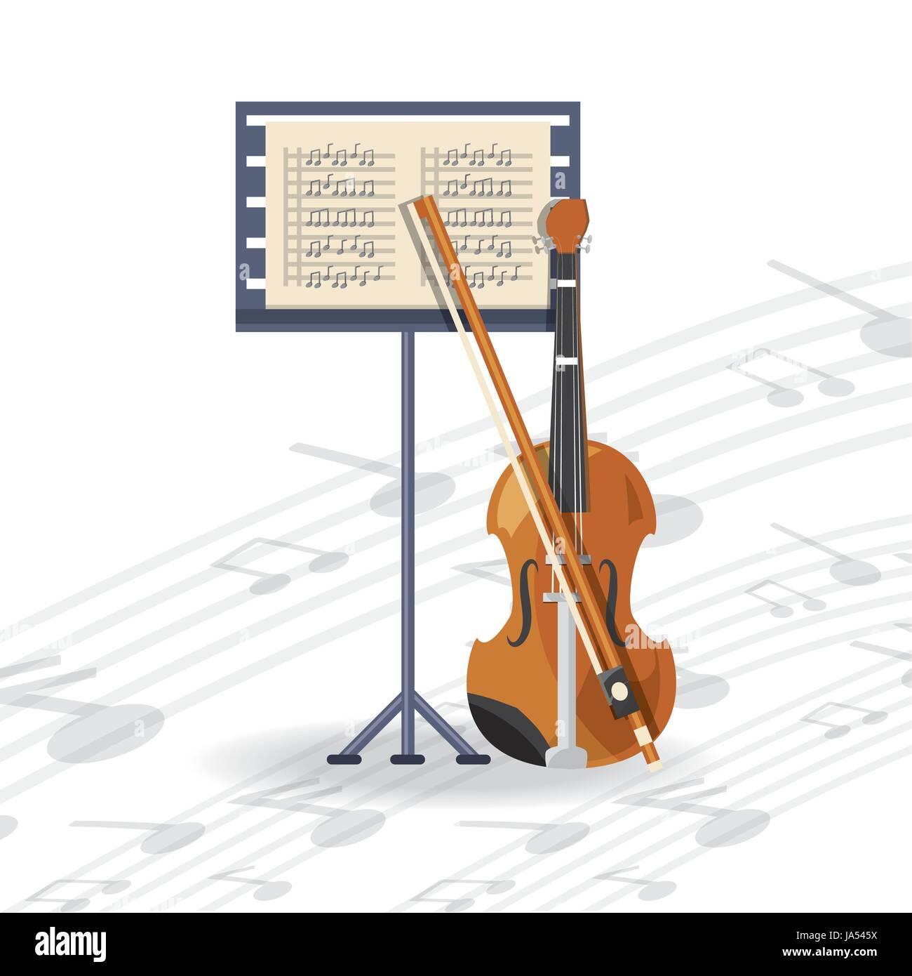 Violín instrumento con hoja de música música concepto Ilustración ...