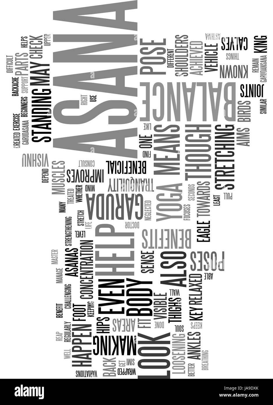 Ventajas de GARUDASANA texto palabra concepto cloud Imagen Vector ...