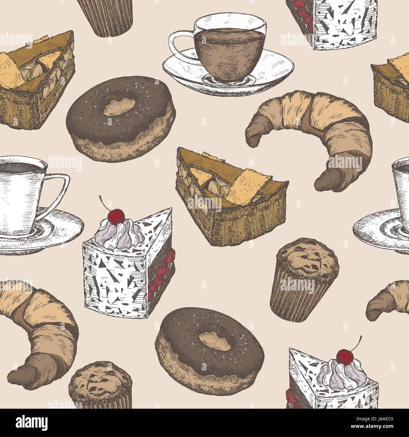 Dibujadas a mano color té, café y pastelería patrón perfecta Ilustración del Vector