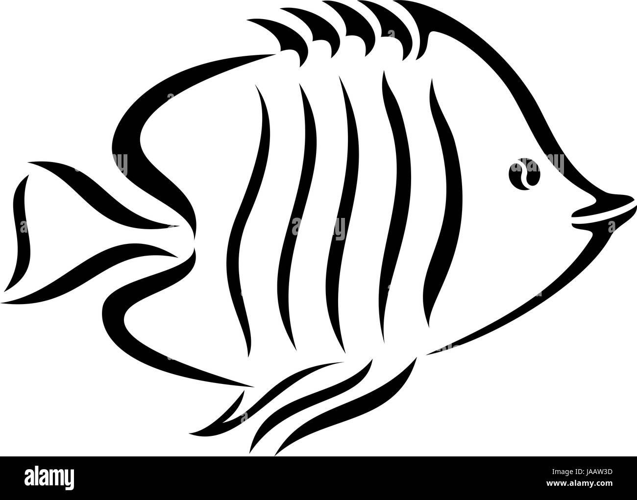 Una Ilustración En Blanco Y Negro De Un Pez Foto Imagen De Stock