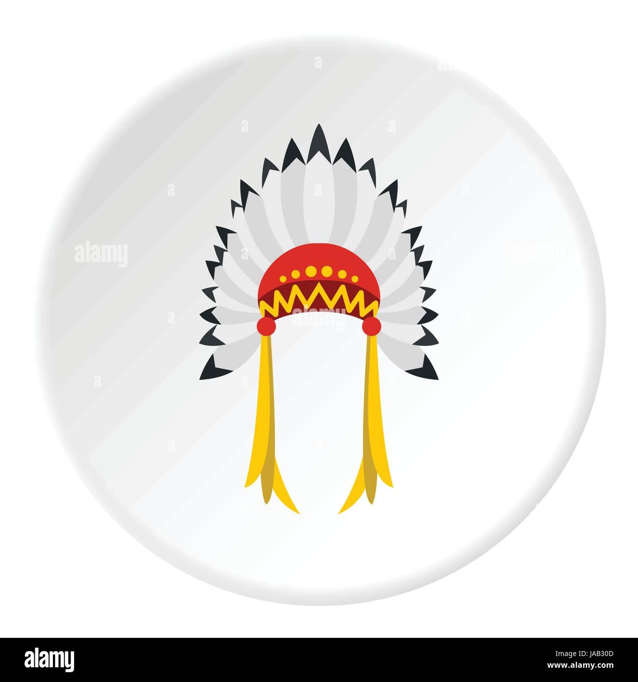 Icono de tocado indio. Ilustración plana del indio tocado icono ...