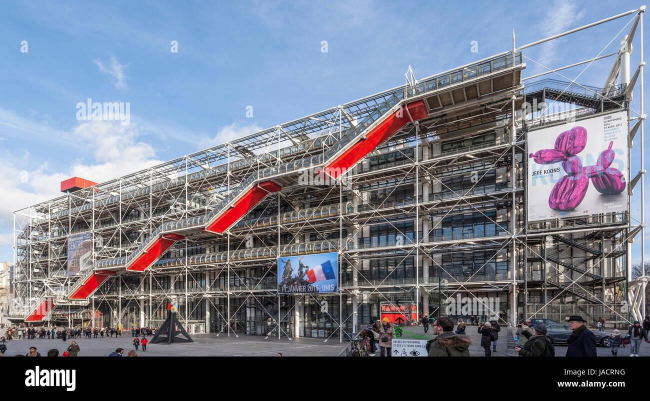 Centro Pompidou, el Centre national d'art et de culture Georges Pompidou, Beaubourg, la alta tecnología Imagen De Stock