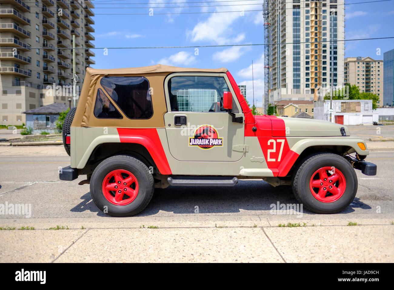 Pintado personalizado de Jurassic Park, Parque Jurásico el logotipo de Jeep, vehículo 4x4, vehículo Imagen De Stock