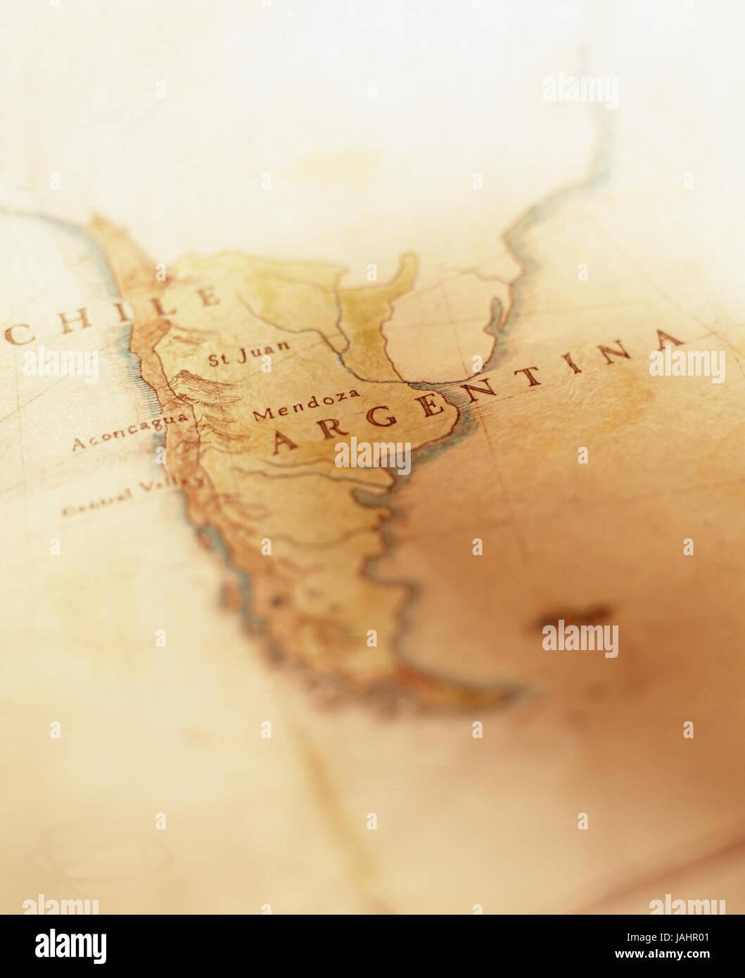 Dibujado a mano el mapa de Chile y Argentina Foto de stock