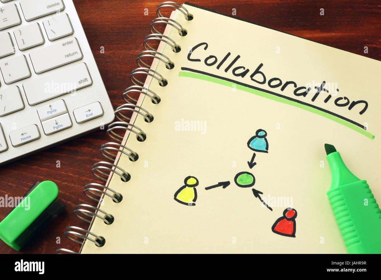 El bloc de notas con la palabra colaboración. Concepto de trabajo en equipo de cooperación. Imagen De Stock