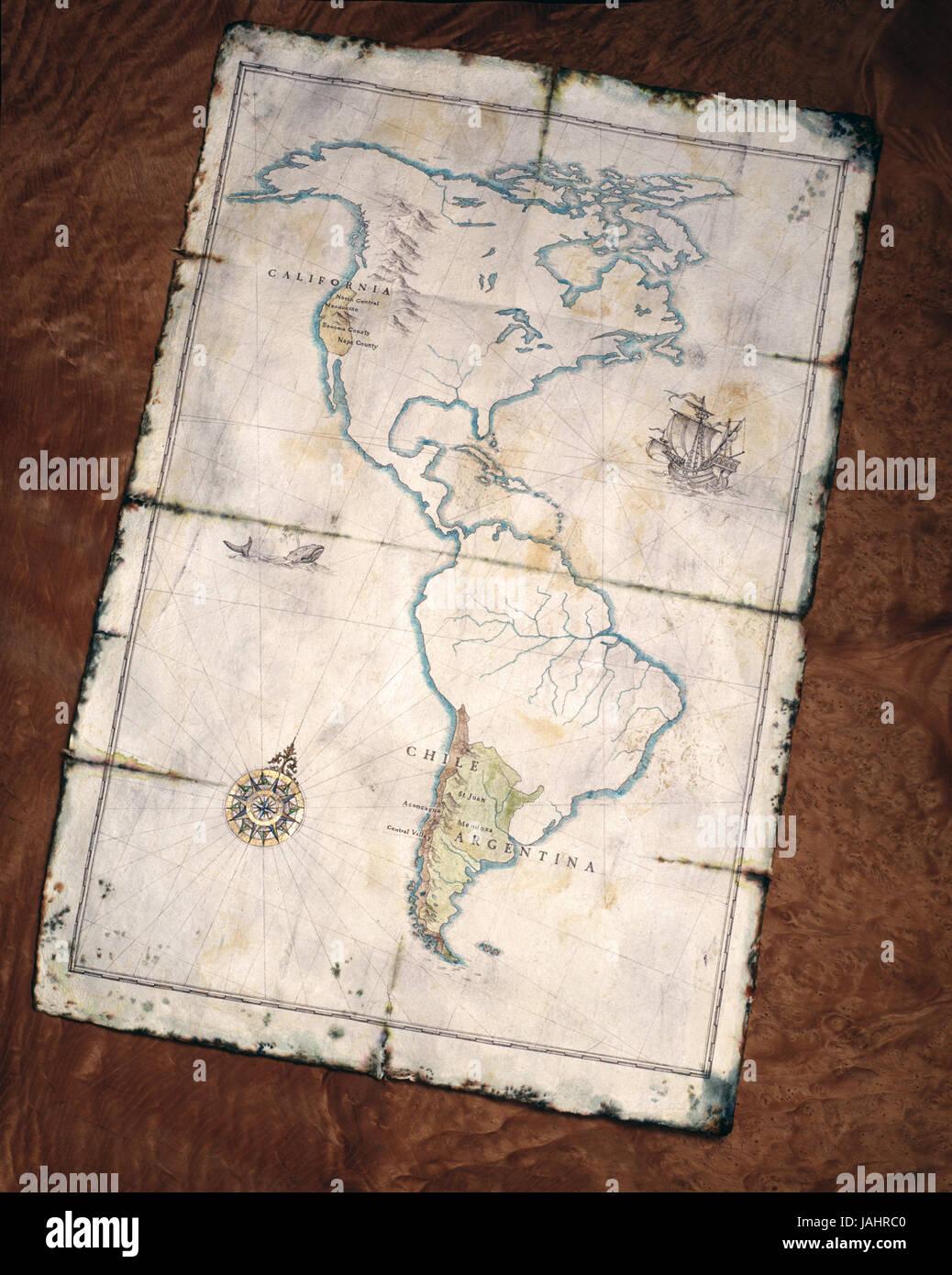 Mapa de América con el vino de las regiones Imagen De Stock