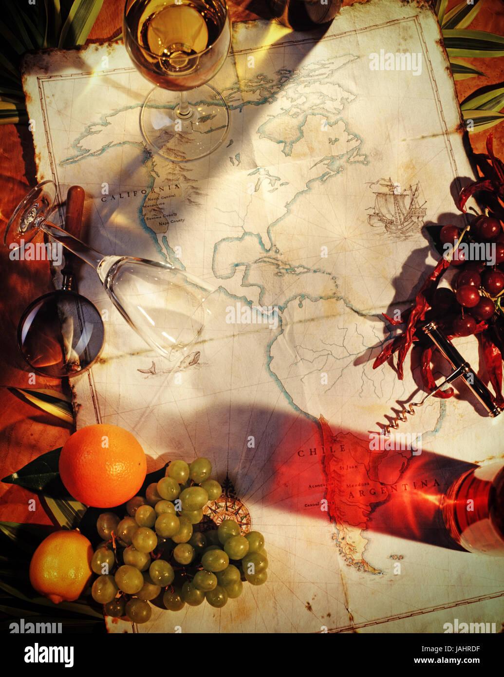 Mapa de America's con las regiones del vino y copa de vino Imagen De Stock