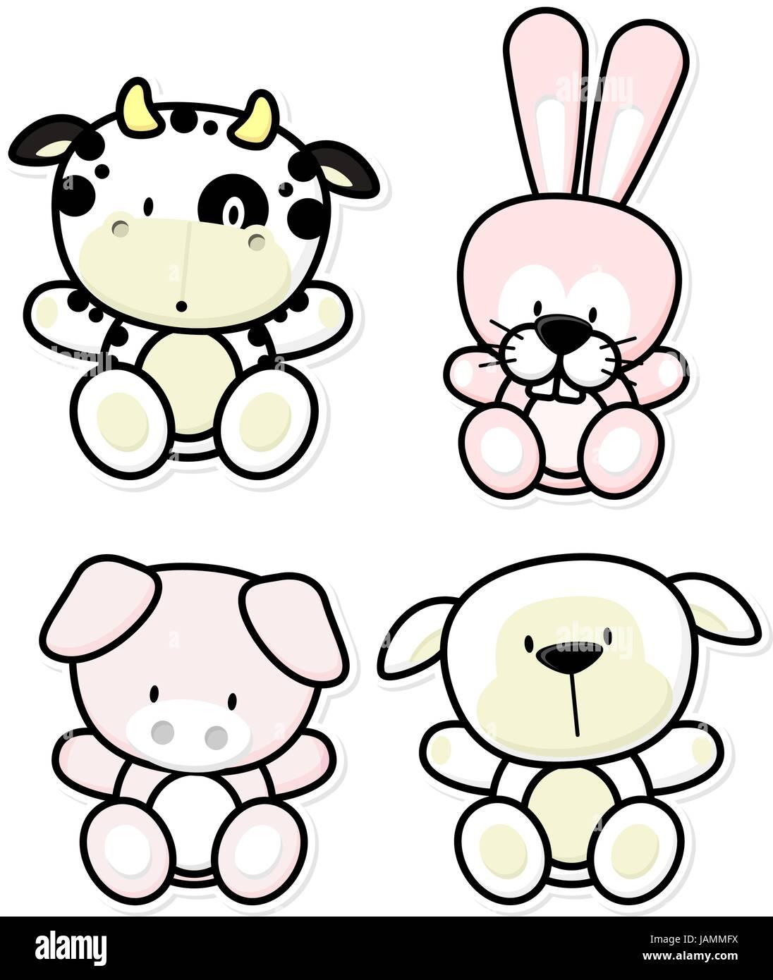 Cartoon Vectores Ilustración De Cuatro Animales De Granja Bebé Aislado Sobre Fondo Blanco Ideal Para Niños Decoración Imagen Vector De Stock Alamy