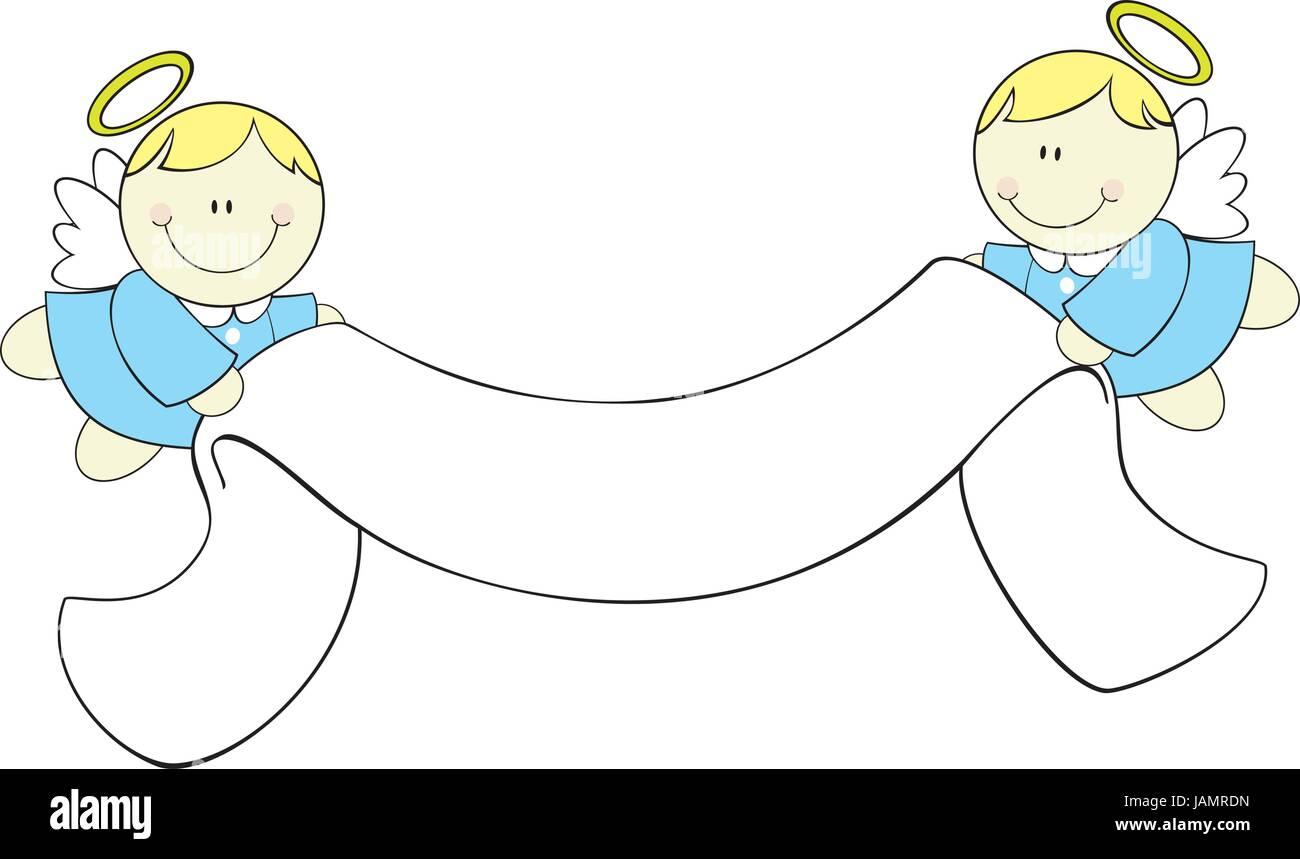 Cute little angels con cinta banner, ideal para bautizo tarjeta de ...