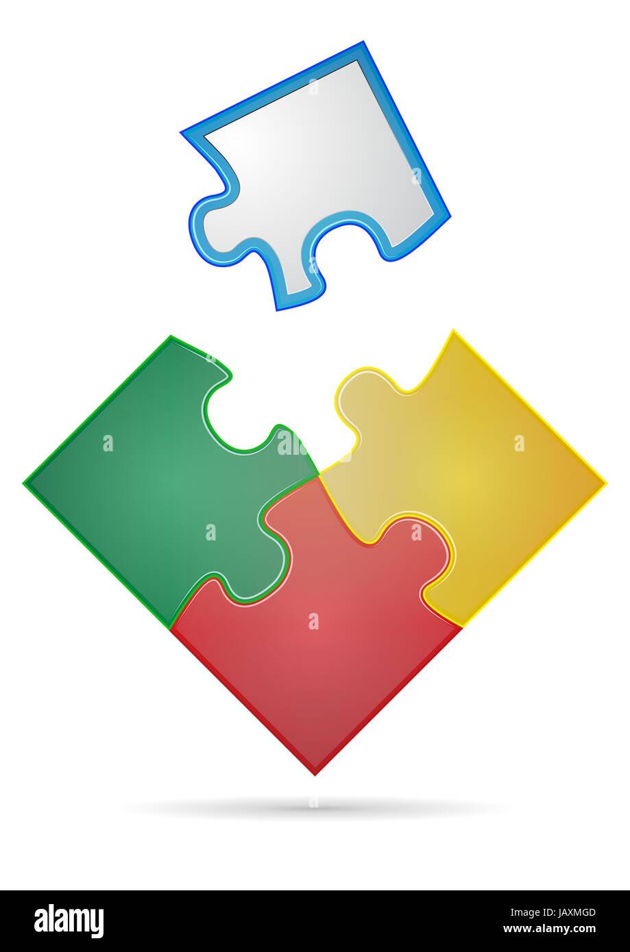 Illustration Four Pieces Color Puzzle Imágenes De Stock ...