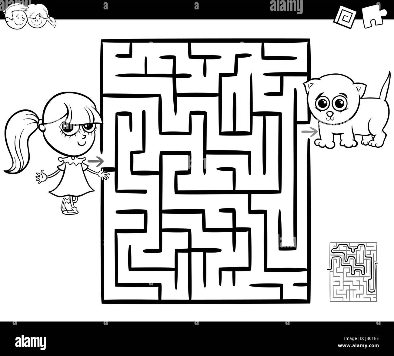 Ilustración De Dibujos Animados De Educación Laberinto