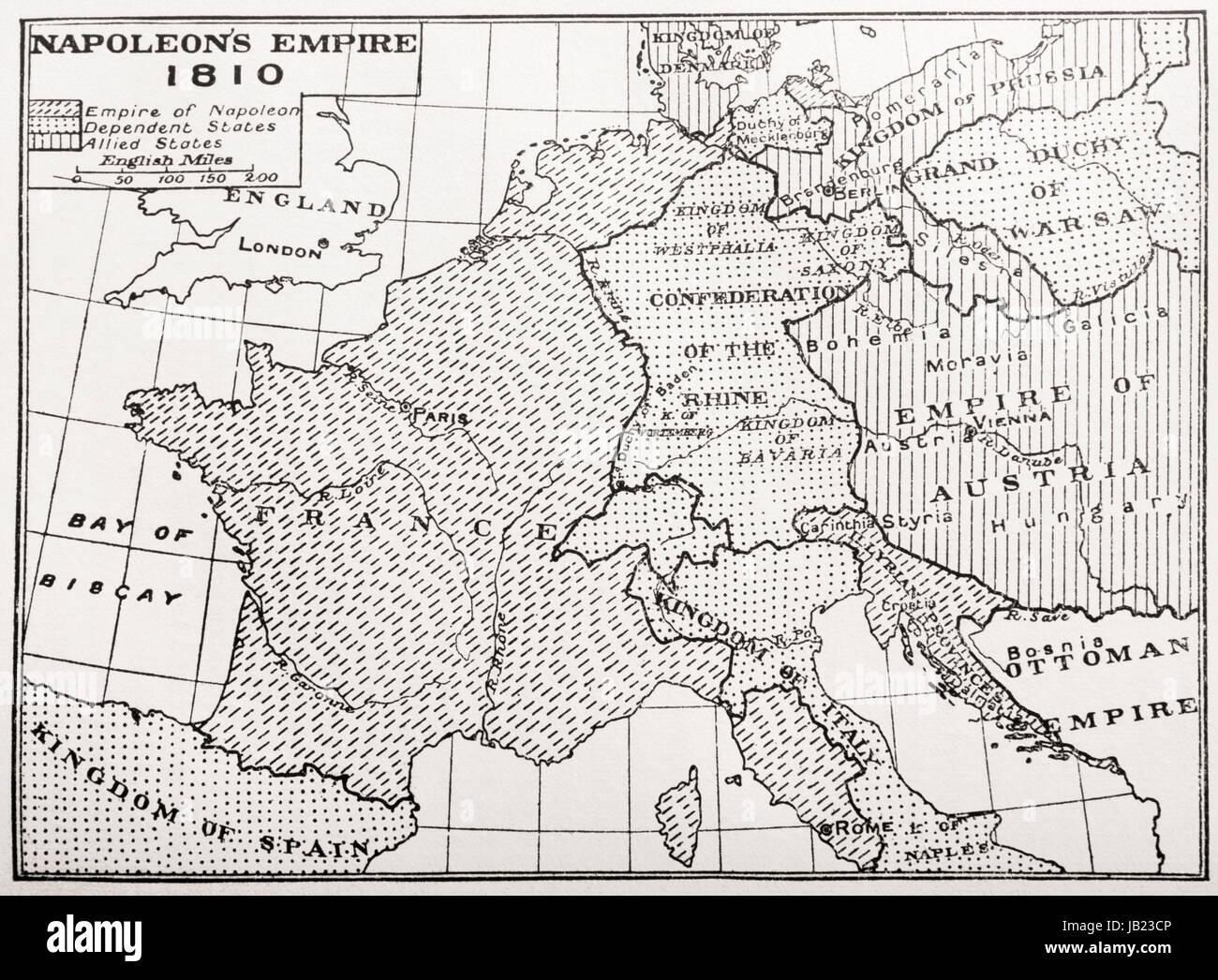 Mapa del Imperio de Napoleón, Francia, 1810. Desde Francia, una historia medieval y moderno, publicado en 1918. Imagen De Stock