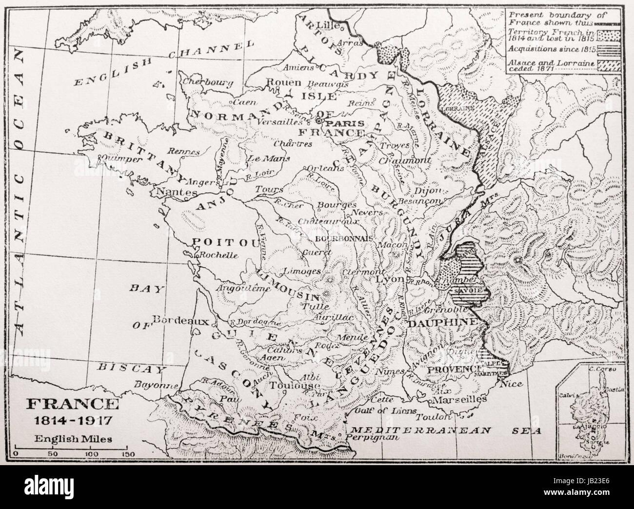 Mapa de Francia, 1814-1917. Desde Francia, una historia medieval y moderno, publicado en 1918. Foto de stock