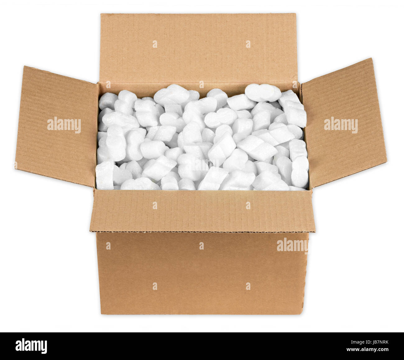 Offenes Paket mit styroporflocken Foto de stock