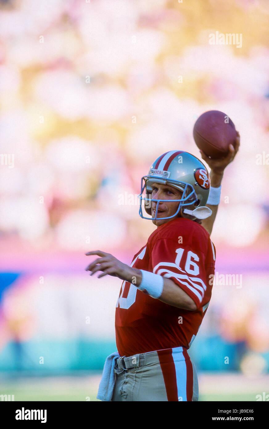 Joe Montana San Francisco 49ers quarterback en el Super Bowl 1989 Imagen De Stock