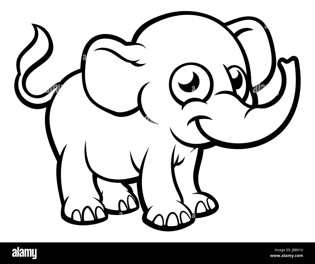 Un Elefante De Dibujos Animados Esquema Ilustración Para