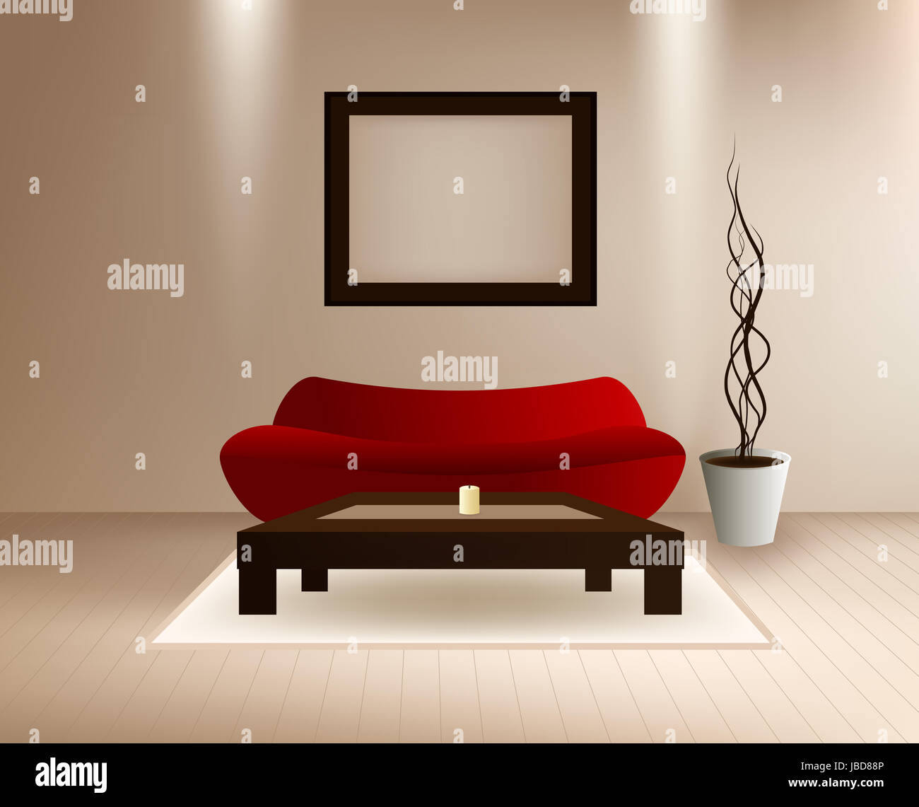 Vector moderno interior rojo con sofá, mesa de café y el marco de ...