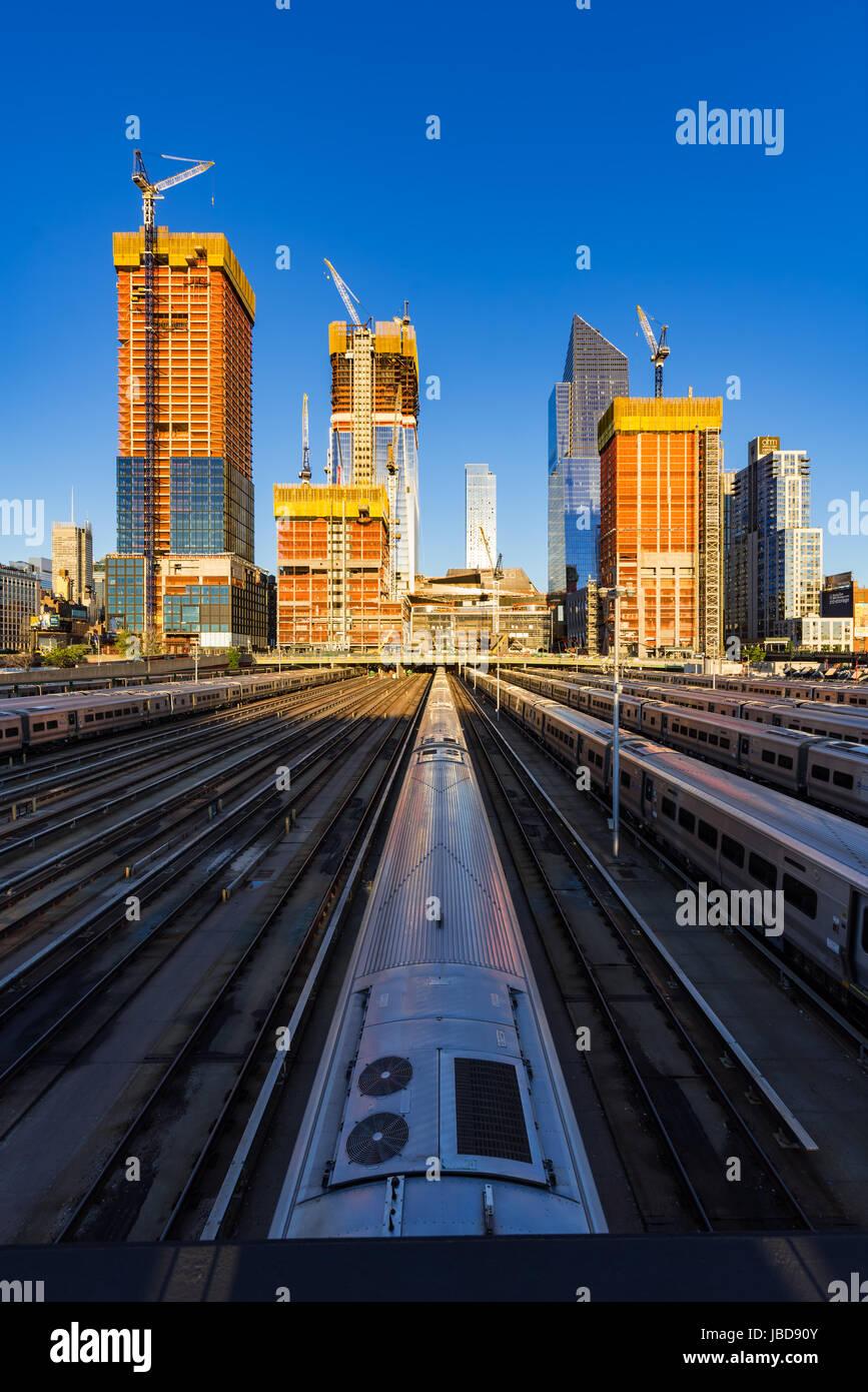 El Hudson Yards sitio de construcción de vías férreas (2017). Midtown, Manhattan, Ciudad de Nueva Imagen De Stock