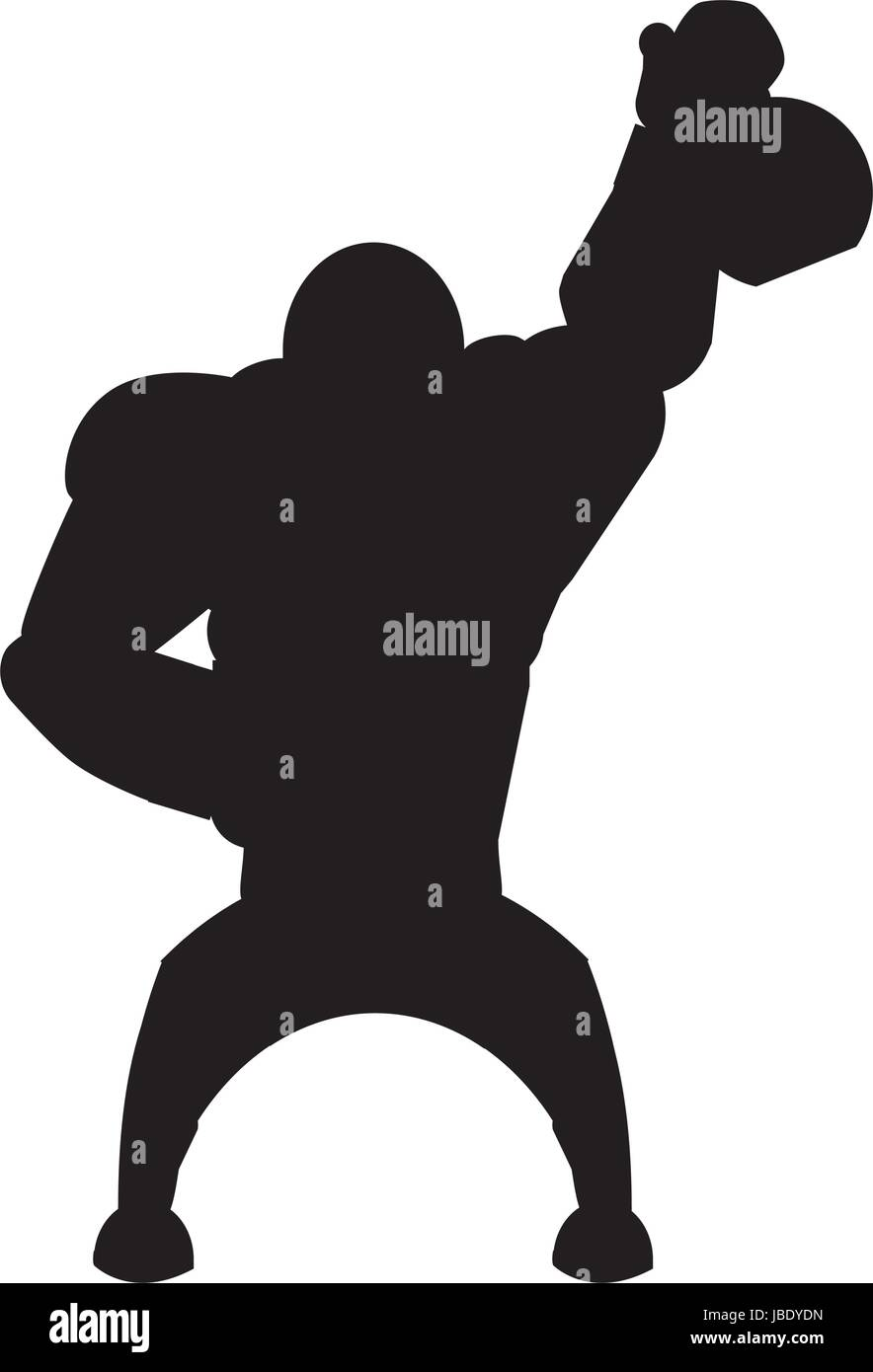 Y el gimnasio Body building cartoon Imagen De Stock