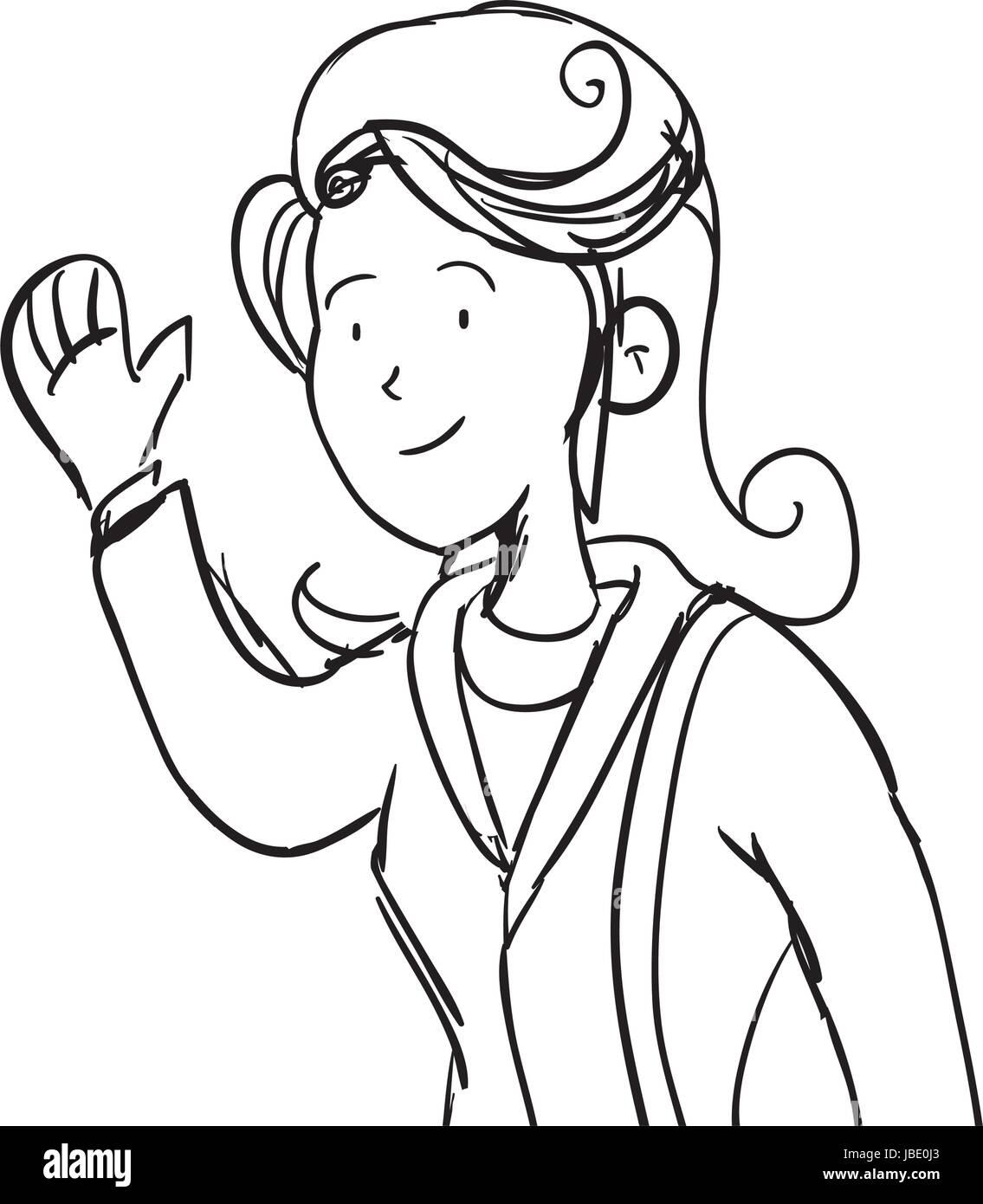Mujer Ejecutiva Cartoon Dibujar Ilustración Del Vector Imagen