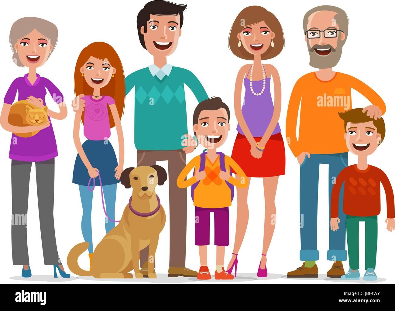 Gran Familia Feliz Grupo De Personas Padres Y Niños Concepto