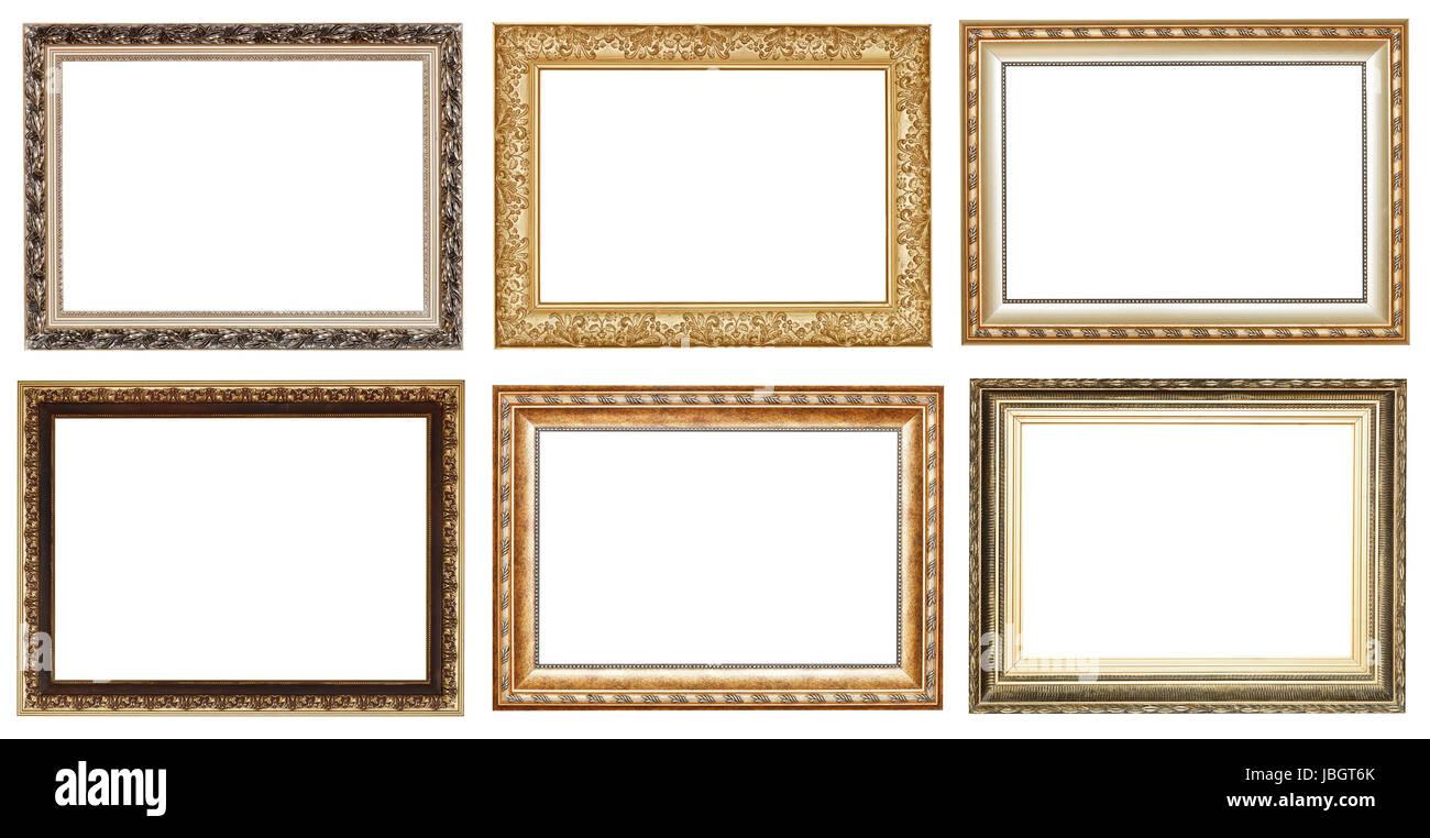 Amplio conjunto de marcos de madera antiguas de oro con recortar el ...