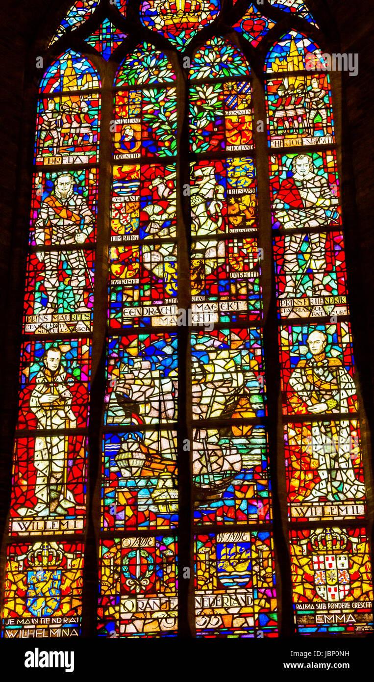 Reyes Holanda Vidrieras Catedral Nueva Nieuwe Kerk, Iglesia Reformada Holandesa Delft Holanda Países Bajos Imagen De Stock