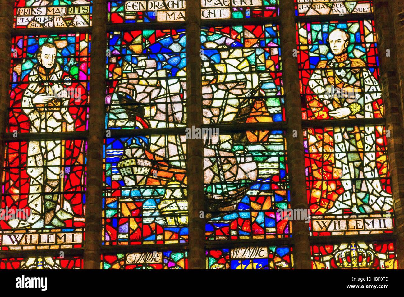 Rey Williem I y Willem II Holanda Vidrieras Catedral Nueva Nieuwe Kerk, Iglesia Reformada Holandesa Delft Holanda Imagen De Stock