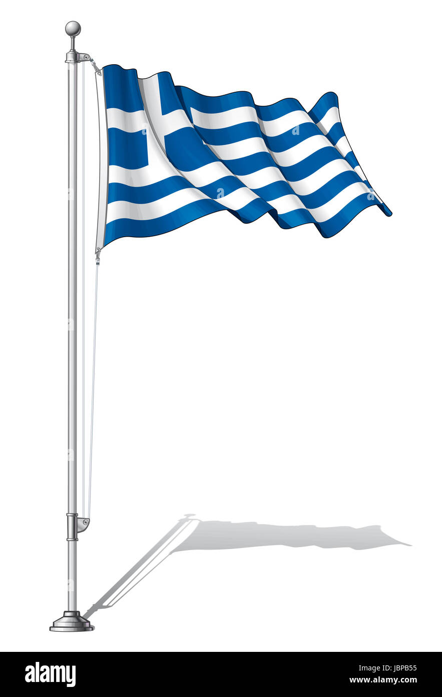 Ilustración Vectorial De Una Ondulante Bandera Griega Fijar