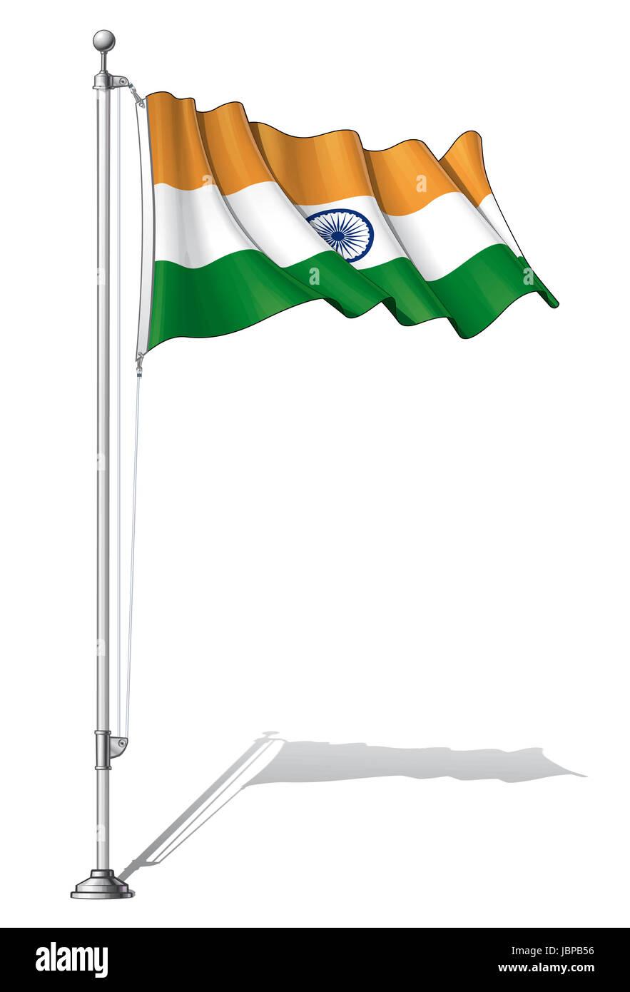 Ilustración Vectorial De Una Ondulante Bandera India Fijar