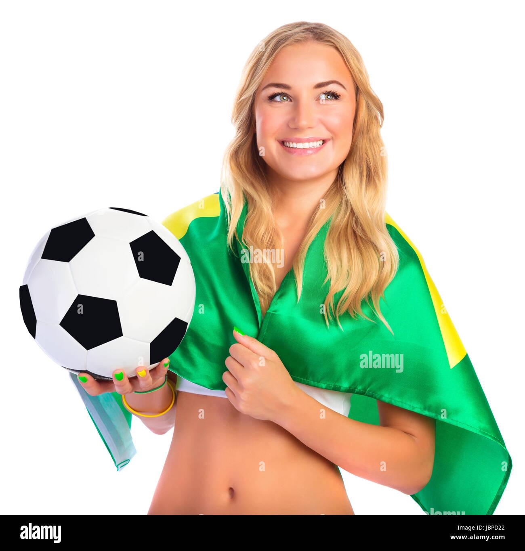 6071aae81f36c Attractive Girl Holding Soccer Ball Imágenes De Stock   Attractive ...