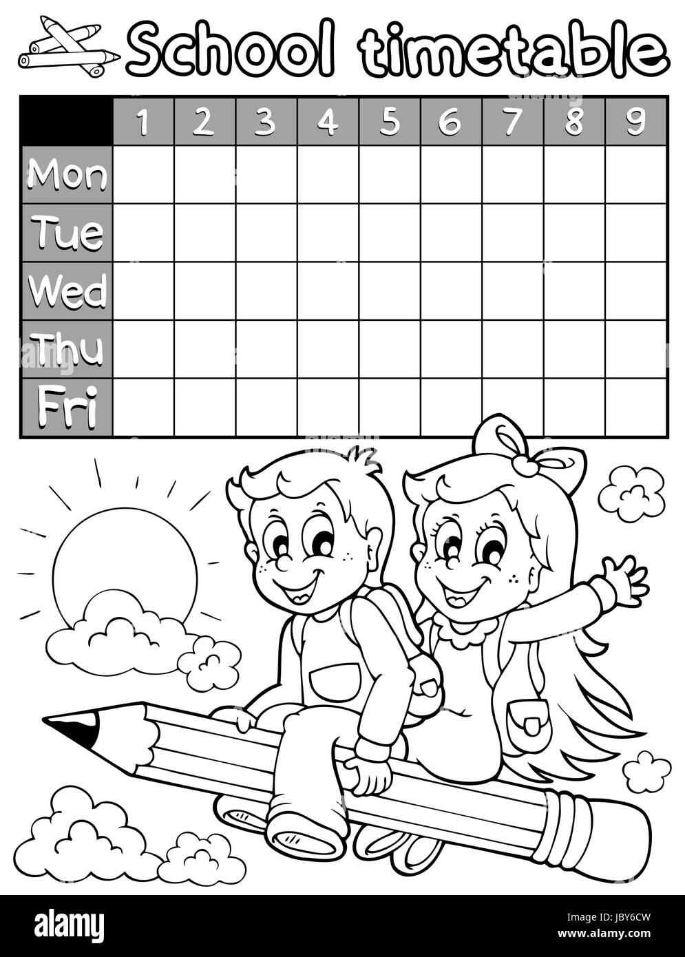 Libro Para Colorear Calendario Escolar 3 Ilustración Ilustración
