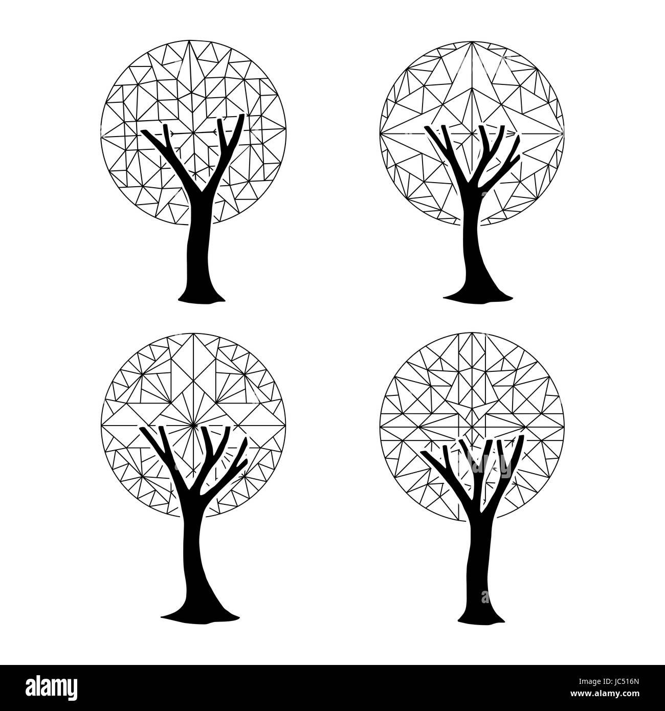 Conjunto De árboles Abstractos Con Formas Geométricas