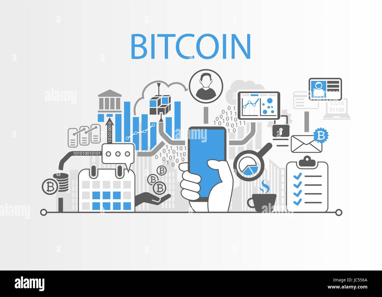Ilustración de fondo vector Bitcoin con mano sujetando el smartphone y los iconos Imagen De Stock