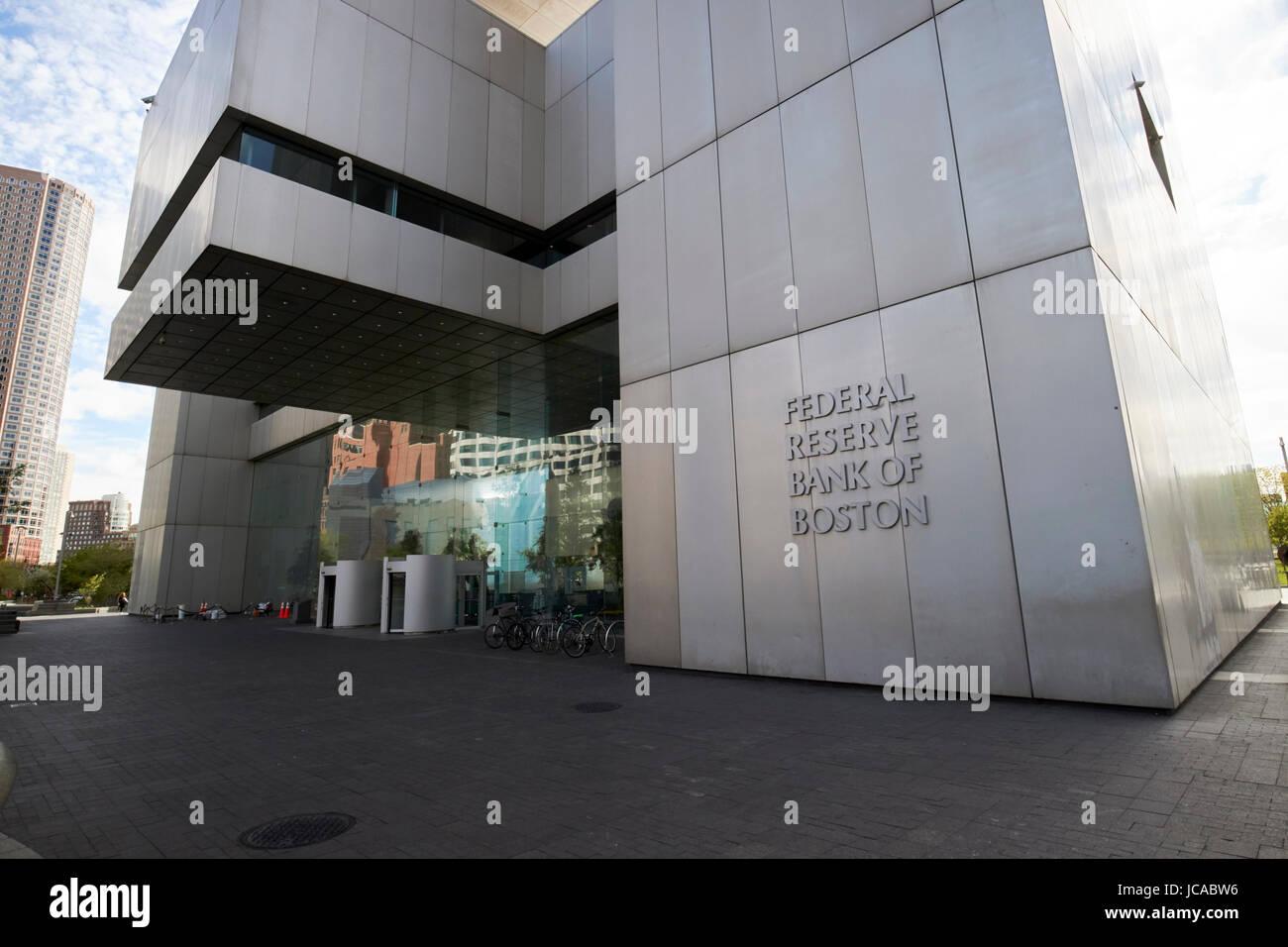 Entrada al banco de la reserva federal de EE.UU. Construcción de Boston Imagen De Stock